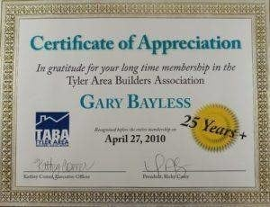 Certificate of Appreciation - Gary Bayless - Custom Home Builder Tyler TX